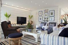 decor, small room, living rooms, living room ideas, beach hous, living room designs, cottage design, live room, stripe