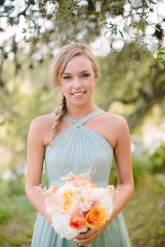 bridesmaid dress, photo by Al Gawlik http://ruffledblog.com/pecan-springs-ranch-wedding #bridesmaiddress #aqua