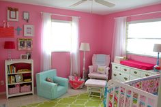 Pink, Green and Aqua Nursery - love all the bright colors!