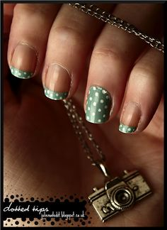 Dotted Green Tips Nails