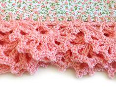 Crochet edging on tea towels.