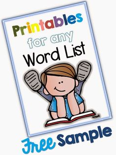 Printables for any Word List Sample Facebook Freebie