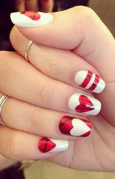 Valentine's Day Plaid manicure! Valentines Gel Nail Art. Too cute!! O Spa Kelowna, En Vogue Gel Nails and Lac Sensation Manicures