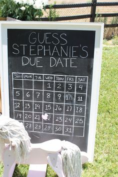 Guess the due date baby shower game