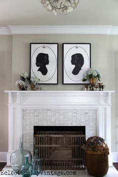 Make your own canvas silhouette art and see the rest of this gorgeous living room! eclecticallyvintage.com