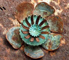 textured patina #patina #copper #flower #floral
