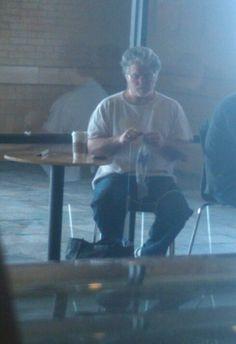 George Lucas knitting at Starbucks.