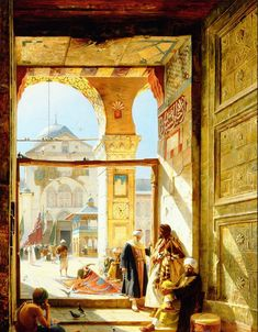 """The Gate of the Great Umayyad Mosque"" by Gustav Bauernfeind, 1890"