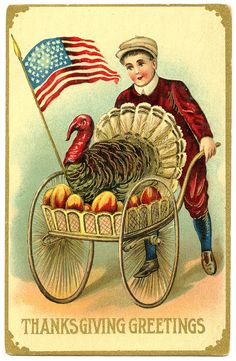 Vintage Thanksgiving Image - Boy with Patriotic Turkey