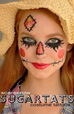 costume ideas, halloween makeup, paint, scarecrow makeup, costume makeup, scarecrows, halloween ideas, face tattoos, costume halloween