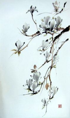 Ella Saridi,  It is a magnolia tree, painted with Sumi - ink and Gansai (Japanese watercolor) on the rice paper