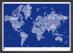World Type Map by boldandnoble: Measures 100cm x 70cm.   #Map #Screen_Print #Type_Map #Typography #boldandnoble