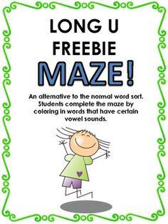 FREE Long u word sort maze