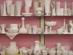 Milk glass display