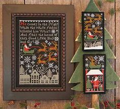 Christmas cross stitch pattern Santa's Night from The Prairie Schooler (includes counted cross stitch pattern)