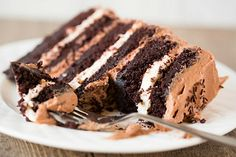 Six-Layer Chocolate Cake with Toasted Marshmallow Filling and Malted Chocolate Frosting