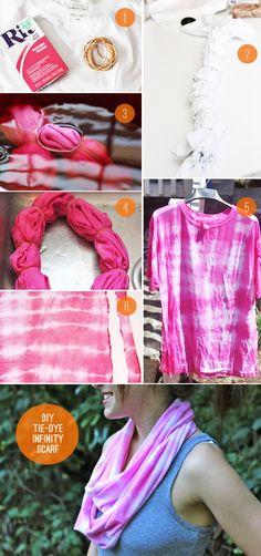 DIY tie dye infinity scarf - no sew!