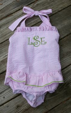 tinytulip.com - Monogrammed Girls Seersucker Swim Bathing Suit, $50.00 (http://www.tinytulip.com/monogrammed-girls-seersucker-swim-bathing-suit)