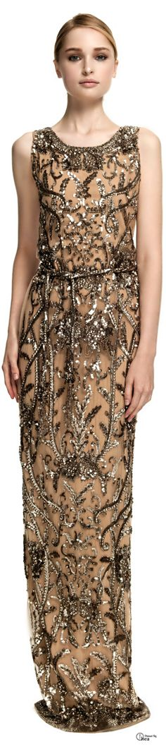 Marchesa ● Sequin Embroidered Column Gown