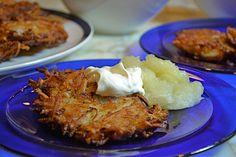 Fabulous Potato Latkes & Sweet Potato & Celery Root Latkes with Fresh Applesauce and sour cream