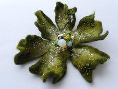 Wool Felt Flower Pin Moss Green  Green White   by MaijaFeja, $35.00