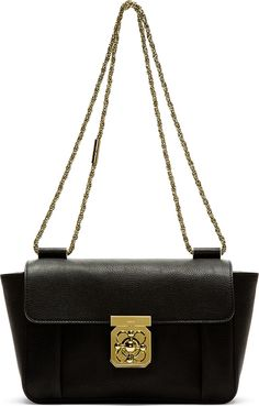 Chloé: Black Goatskin Elsie Medium Shoulder Bag