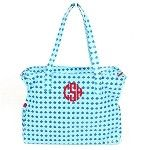Monogrammed Blue Scales Patterned Tote Bag