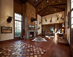 hide inlays in a wood floor; hunting lodge glam