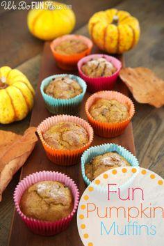 Fun Pumpkin Muffins | We Do FUN Here. #recipe #pumpkin #muffins #breakfast #food #cooking #baking #howto