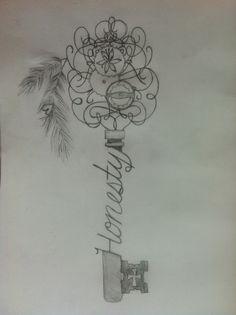 Skeleton key, tattoo sketch. Honesty Tattoos   tattoos picture tattoo sketches Key Tattoo Drawing, Pictures Tattoo, Skeleton Key Tattoos, Tattoo Sketches, Art Tattoo, Skeletons Keys, Art Drawings Tattoo, Keys Tattoo, Tattoos Design