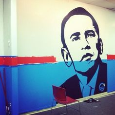 Mural in progress at a Columbus, Ohio field office