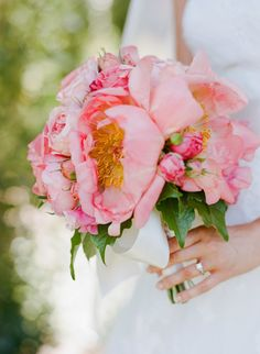 Enormous peonies make for a simple but stunnign #weddingbouquet. #peony  Photography: Meg Smith Photography - megsmith.com  View entire slideshow: Peony Bouquets on http://www.stylemepretty.com/collection/572/