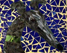Black and Gray Brindle Greyhound Dog Mosaic by EyelidTheater
