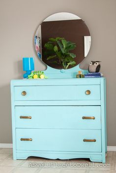 DIY Chalk Paint Teal Dresser... chalk paint - 1 cup of paint to about 1/4 cup of baking soda.