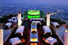 Lebua, Bangkok. I went there before The Hangover II did! Topwering high above Bangkok with the most fabulous roof-top restaurant in the world. Totally breathtaking. This little piece of heaven is remarkably well-priced for such luxury. And the service....OMG!