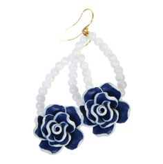 blue, tulip, floral earring