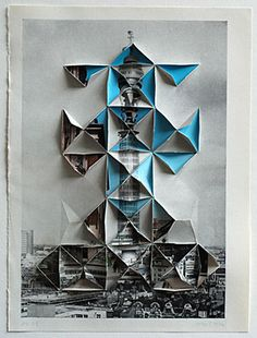 ::origami meets collage by abigail reynolds. Thinking art project here.