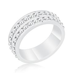 $9.99 - Stainless Steel Men's Ring with Parallel Ball-Bearing Chain Inset