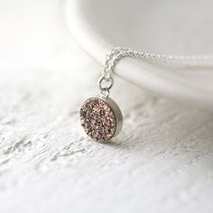 Rose Gold Druzy Quartz Necklace in Sterling Silver  by burnish, $35.00