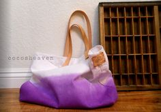 TOTE BAG..purple with leather strap by cocosheaven on Etsy, $59.00