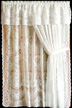 Keeley is a great Cotton/Poly pattern in White or Ecru.  It is available in many pieces - Swag Pair - Valance - Door Panels and Full Panels.