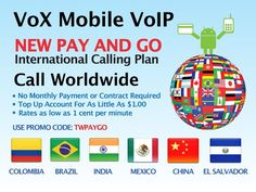 """Check out the NEW Vox Mobile Voip Android App """"Pay & Go"""" Calling Plan. No Monthly Contract required.        Use Promo Code: TWPAYGO  or  Get Free 60 Minutes to 60 Countries  Use Promo Code:TWFREE60"""