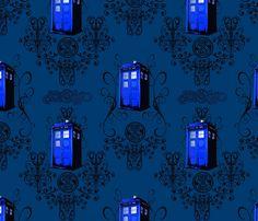 TARDIS Travels in Blue fabric by fentonslee on Spoonflower - custom fabric