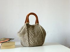 Knitted women Tote, women fashion Fall tones,  handmade knit bag, christmas gifts idea, beige melange