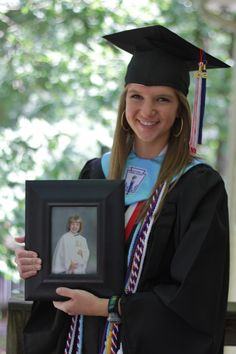 Take a picture of your high school graduate in their cap and gown holding a picture of their kindergarten cap and gown picture.