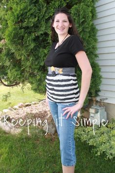 T- Shirt Upcycle using a little bit of Ruffle Fabric and an old tee \ #Tshirt #Recycle #Repurpose #Redo #Makeover #Upcycle #Reuse #Revamp #Reconstruct #Refashion