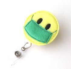 Surgical Mask  OR Nurse ID Badge Surgeon Badge  Scrub Tech Badge Reel Pediatric RN Badge Holders Felt Badge Reel  by BadgeBlooms, $7.00