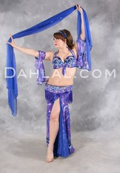 $674.95 PAINTED EGYPTIAN EMPRESS in Royal Blue, Fuchsia and Silver by Designer Pharaonics of Egypt, Egyptian Belly Dance Costume