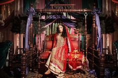 kumari-husn-red gold bride anarkali