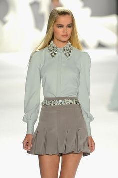 An embellished collar is SO chic!  Loving this Carolina Herrera look